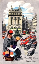 Happy London: Piccadilly Circus y vendedora de flores. Por helen Mckiby.